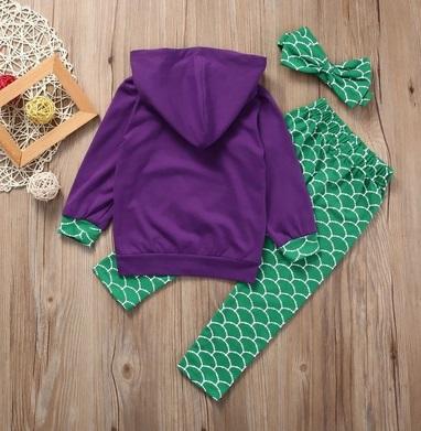 Headband Outfits US Long Pants 3Pcs Toddler Kids Girls Mermaid Hoodie Tops