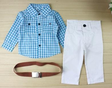 3 PCS Baby Boys Plaids Shirt Belt Set Kids Casual Clothes Outfits White Pants