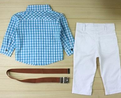 4607eaf09 JPSKI1005 Fashion boys long sleeve plaid shirt + white Long pants with belt  3pcs/set