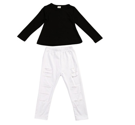 Toddler Kids Girls Summer T-shirt Tops Ripped Pants Leggings Outfits Clothes Set