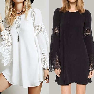 JPST1002 Women Lace Crochet Long Sleeve Casual Loose Long Tops Shirt Short  Mini Dress Plus Size S-5XL