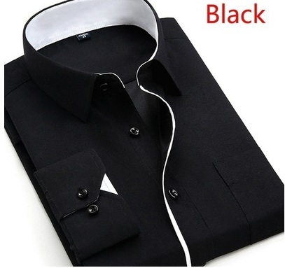 X-Future Mens Business Classic Long Sleeve Buttons Solid Dress Shirts