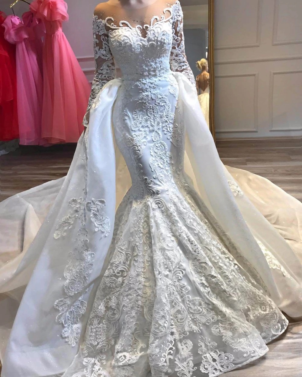 Jpae1025 Luxury Lace Mermaid Wedding Dress With Detachable Skirt Illusion Long Sleeve Wedding Gowns Plus Size Jp S Boutique,Wedding Dress Chicago Affordable